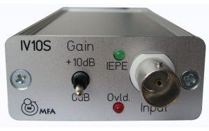 1-Kanal Konstantstrom-Versorgung von IEPE Aufnehmern oder IEPE Mikrofonen, mit Verstärkung und Mini-USB Stromversorgung